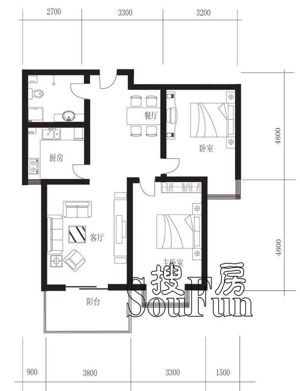 新橙空间b2户型两室两厅两卫103.