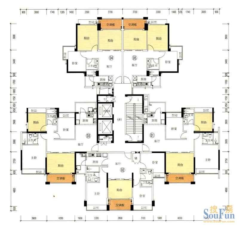 中山海伦堡五期64栋标准层03户型