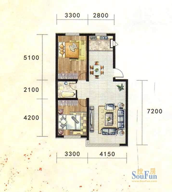 金地家园标准层C1户型