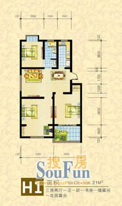 维多利亚花园小区H1 三室两厅99.
