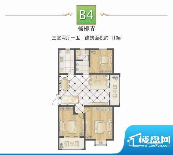 提香湾杨柳青三室两面积:110.00平米