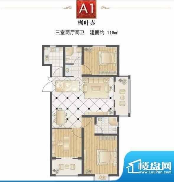 提香湾枫叶赤三室两面积:118.00平米
