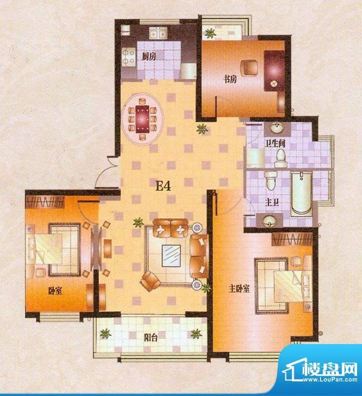 中茵龙湖国际E4户型面积:131.93平米