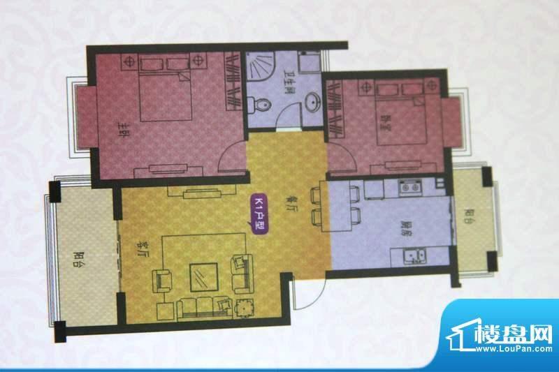 名仕紫金花园K户型 面积:88.00平米