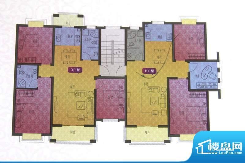名仕紫金花园D/H户型面积:109.00平米