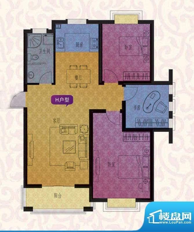 名仕紫金花园H户型 面积:105.00平米