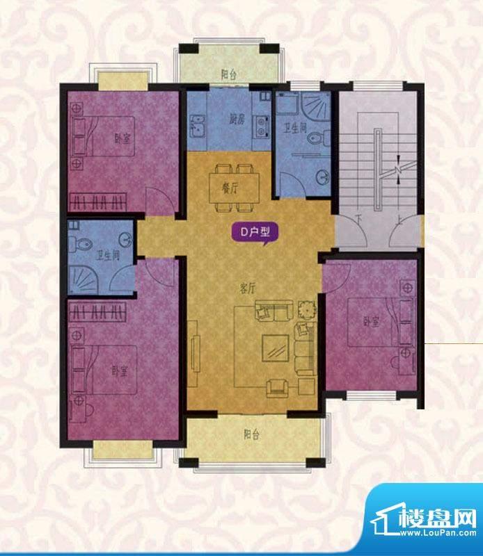 名仕紫金花园D户型 面积:109.00平米