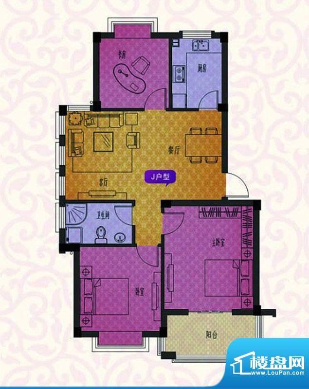 名仕紫金花园J户型 面积:95.00平米