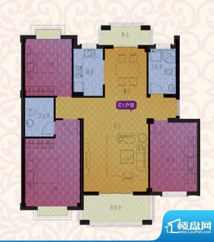 名仕紫金花园C1户型面积:112.00平米