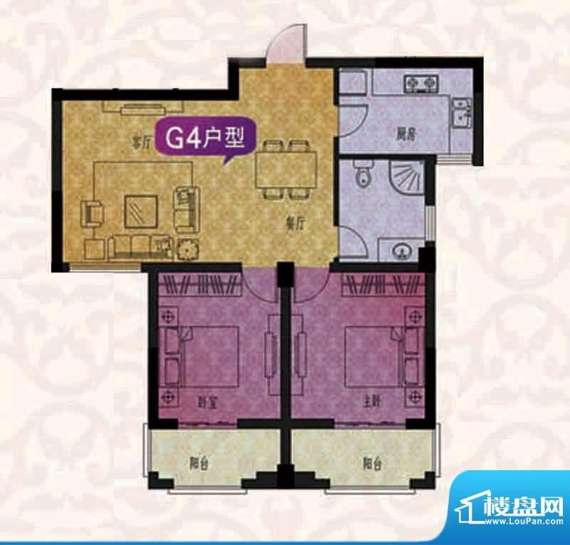名仕紫金花园G4户型面积:96.00平米
