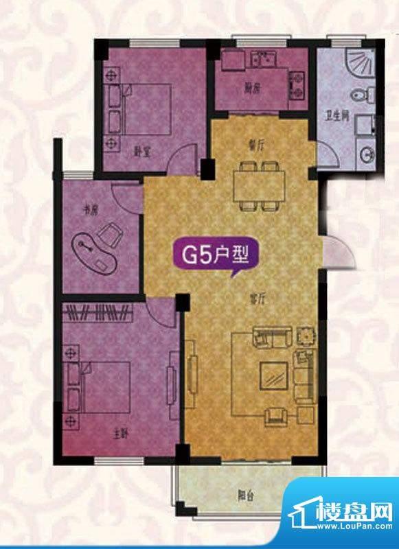 名仕紫金花园G5户型面积:122.00平米