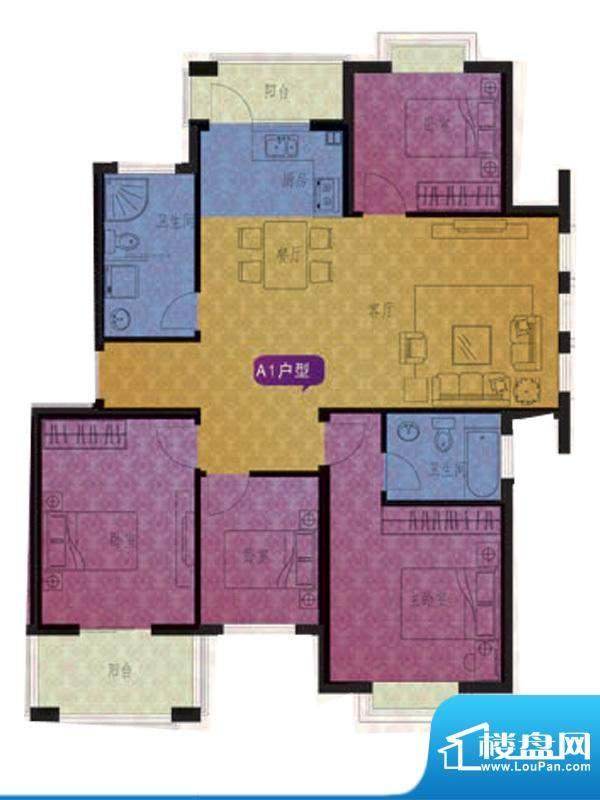 名仕紫金花园A1户型面积:123.00平米