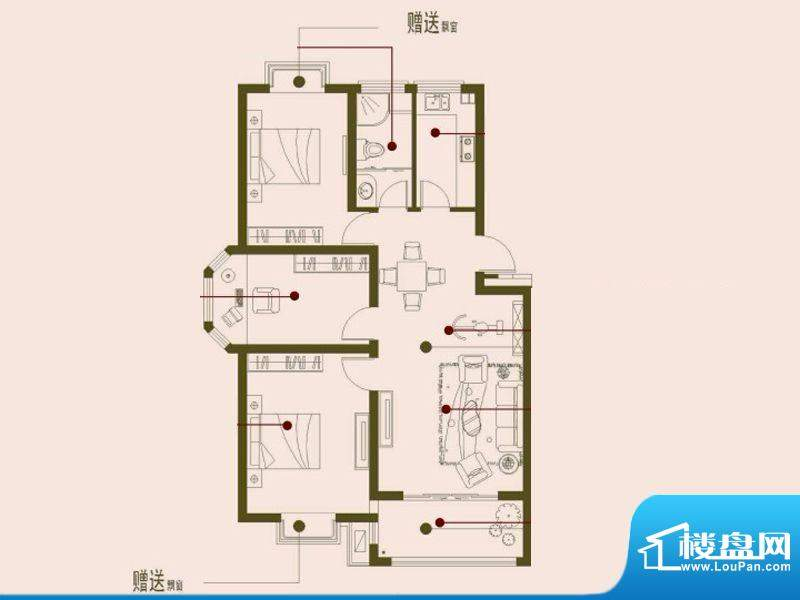 榕侨翡翠湾C户型 3室面积:105.00平米