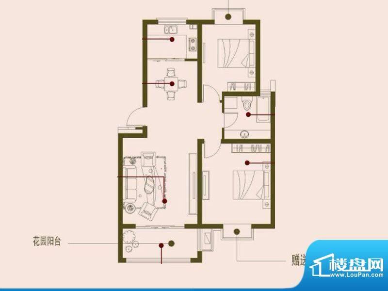 榕侨翡翠湾A户型 2室面积:90.00平米