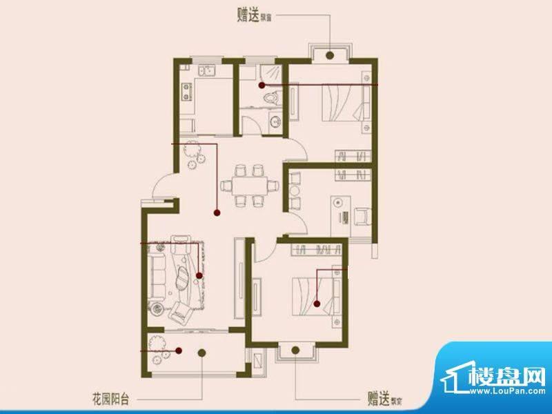 榕侨翡翠湾B户型 3室面积:105.00平米