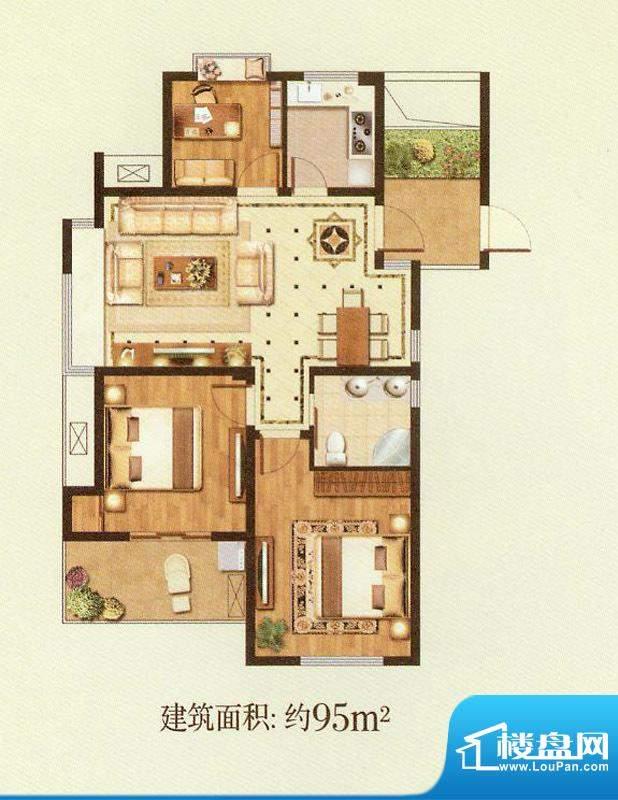 润金城A4户型 3室2厅面积:95.00平米