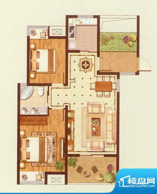 润金城A5户型 2室2厅面积:89.00平米