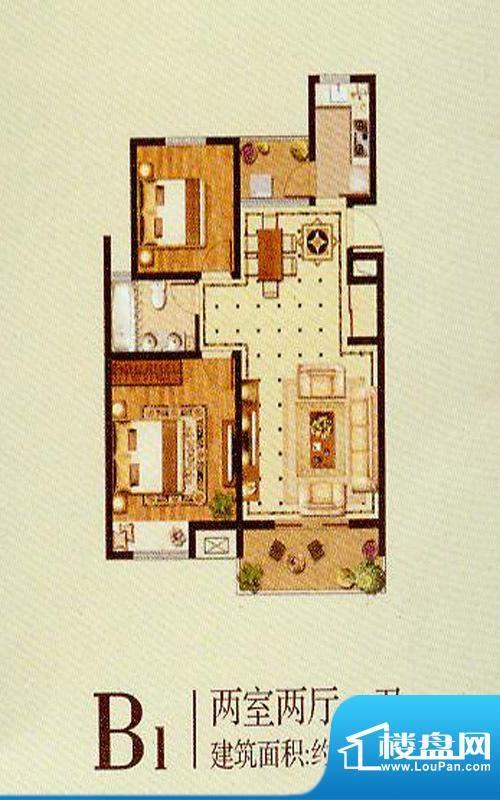 润金城B1户型 2室2厅面积:88.00平米