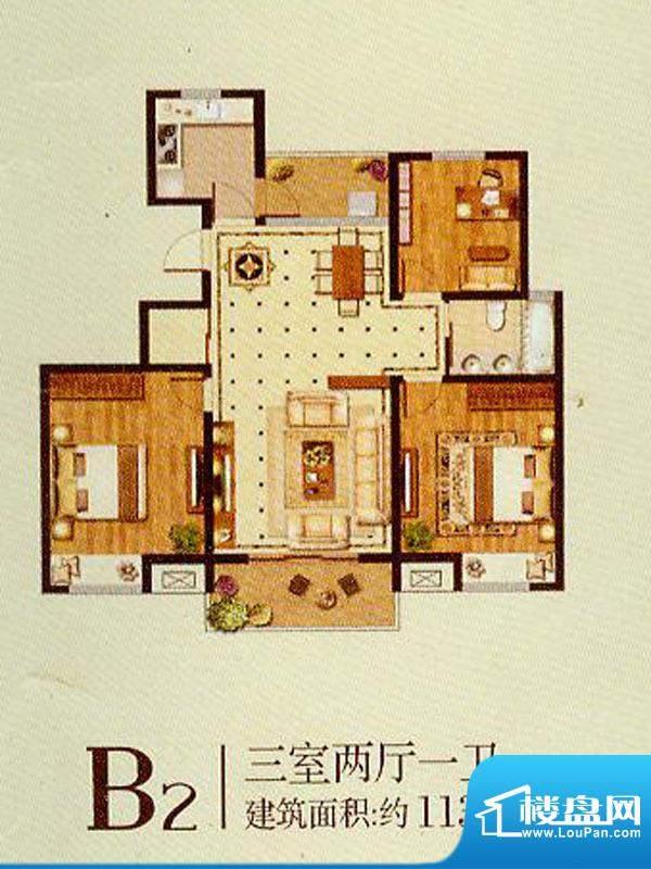 润金城B2户型 3室2厅面积:113.00平米