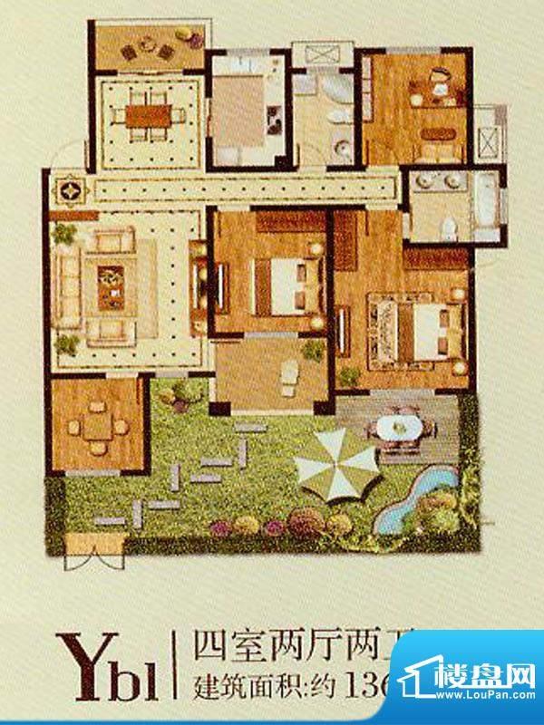 润金城Yb1户型 4室2面积:136.00平米