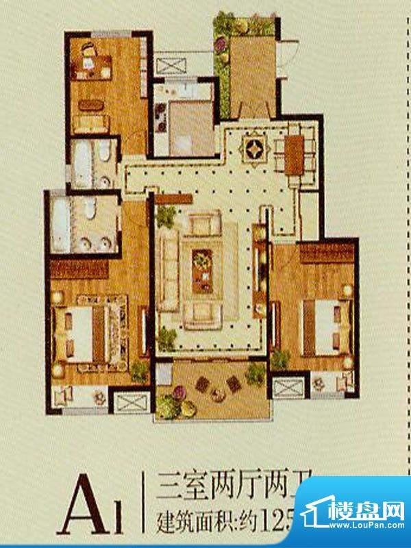 润金城A1户型 3室2厅面积:125.00平米