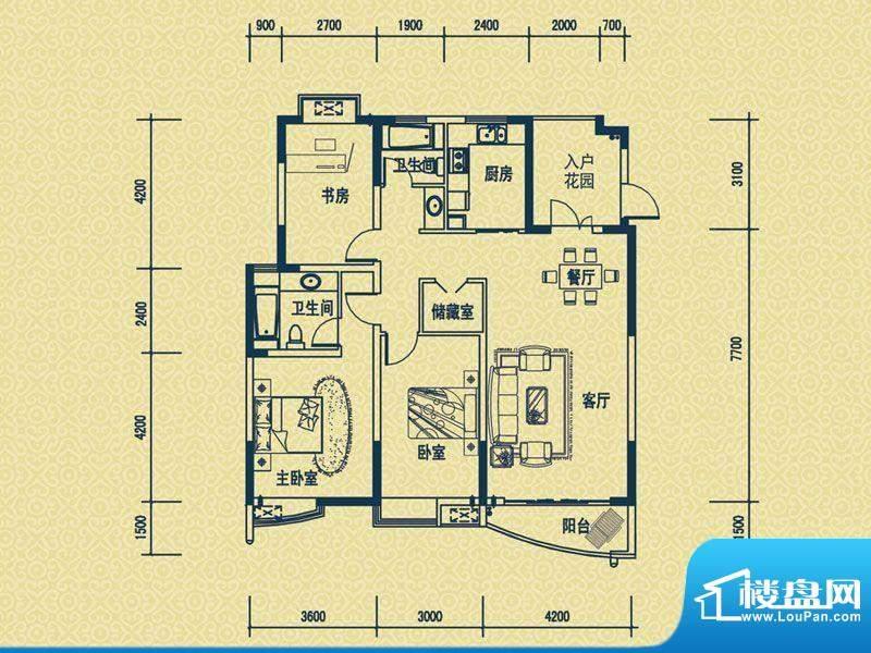 怡新花园B-5户型 3室面积:125.00平米