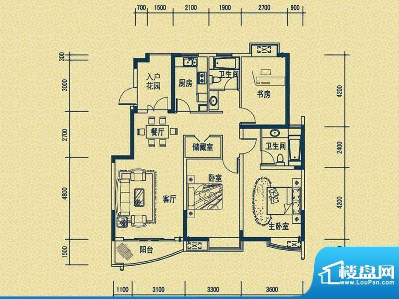 怡新花园B-7户型 3室面积:122.00平米