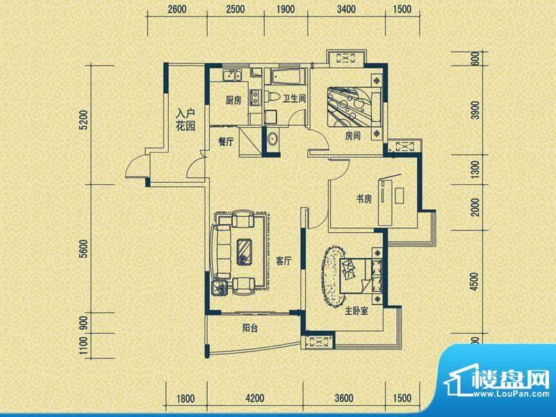 怡新花园C-1户型 3室面积:120.00平米