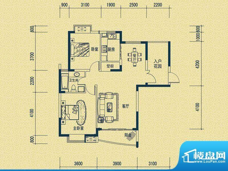 怡新花园D-2户型 2室面积:89.00平米