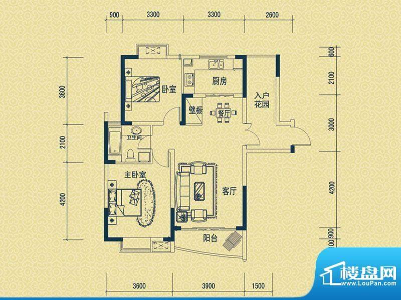 怡新花园D-3户型 2室面积:92.00平米
