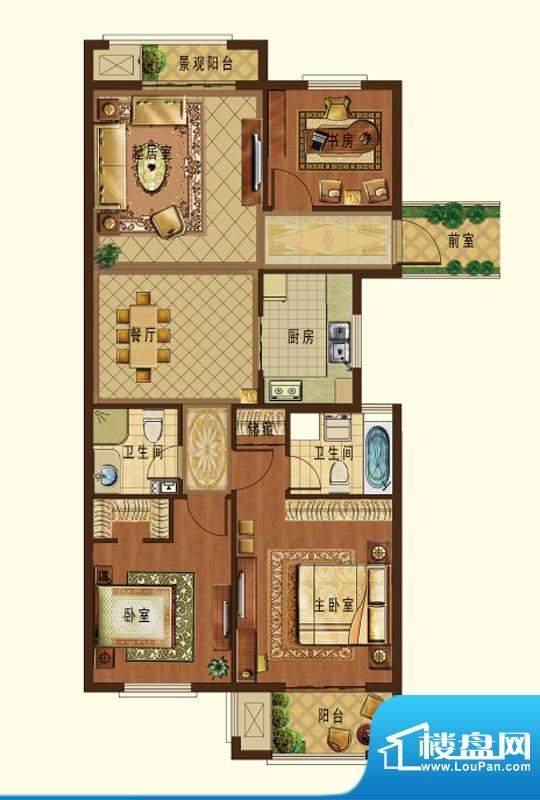 德信九龙城L户型 3室面积:123.00平米