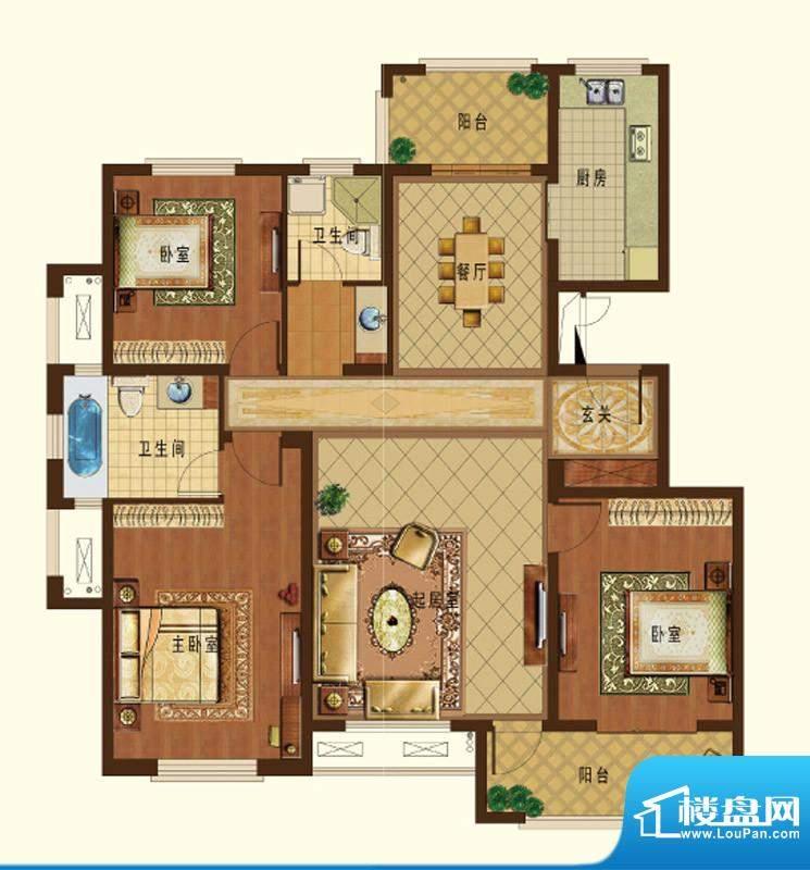 德信九龙城I户型 3室面积:123.00平米