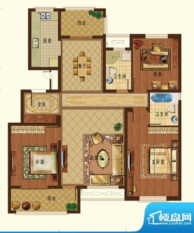 德信九龙城J户型 3室面积:120.00平米