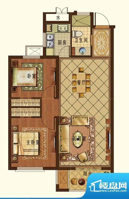 德信九龙城K户型 2室面积:112.00平米