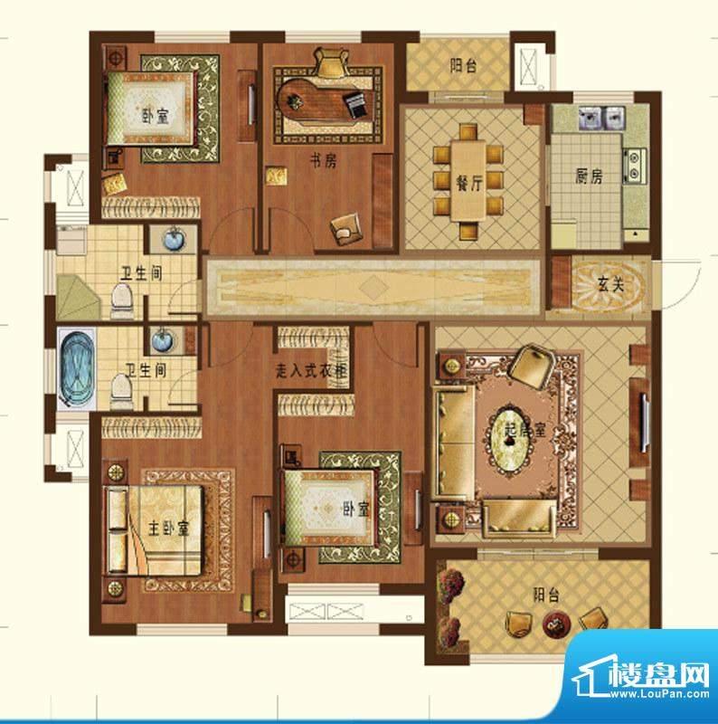 德信九龙城A1户型 4面积:142.00平米