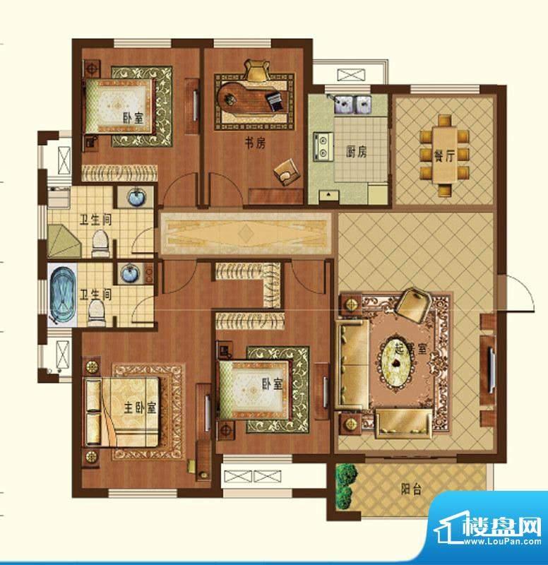 德信九龙城A2户型 4面积:142.00平米