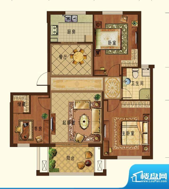 德信九龙城B1户型 3面积:98.00平米