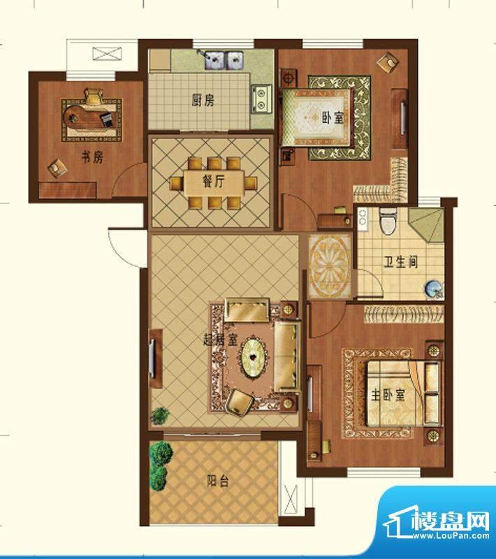 德信九龙城B2户型 3面积:98.00平米