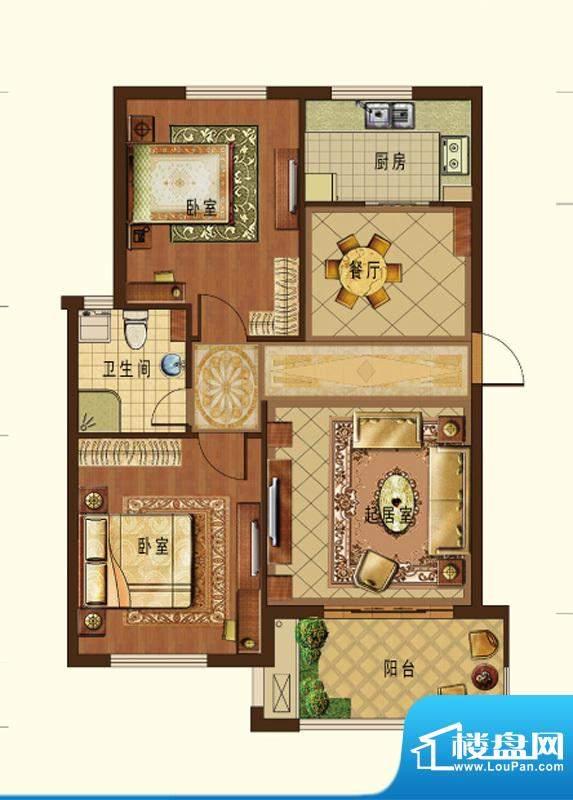 德信九龙城C户型 2室面积:98.00平米