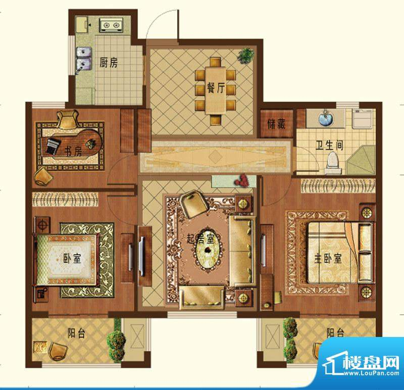 德信九龙城E户型 3室面积:104.00平米