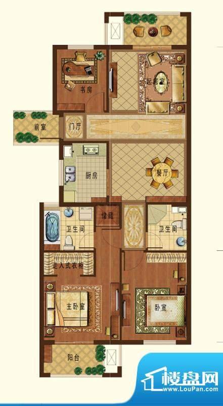德信九龙城F户型 3室面积:112.00平米