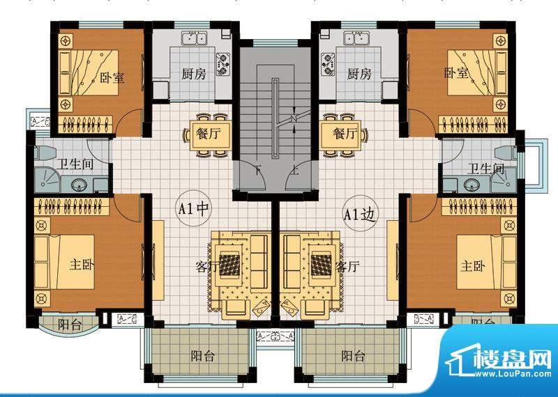 翡翠城A1户型 2室2厅面积:88.49平米
