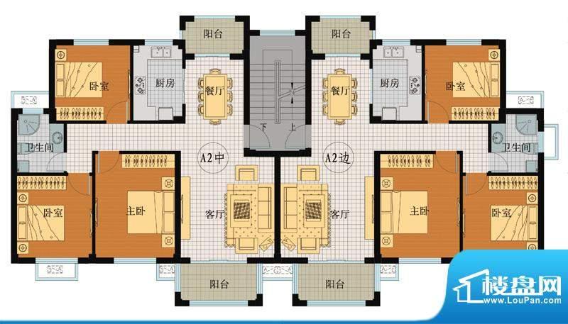 翡翠城A2户型 3室2厅面积:109.65平米