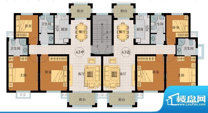 翡翠城A3户型 3室2厅面积:121.76平米