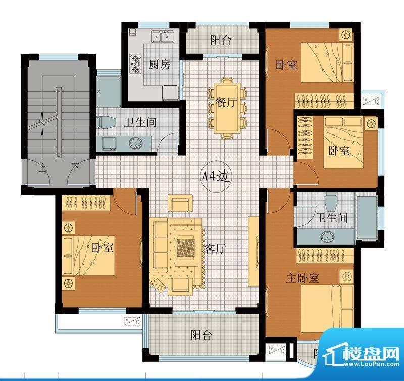 翡翠城A4户型 4室2厅面积:139.89平米