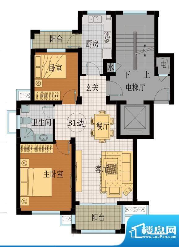 翡翠城B1户型 2室2厅面积:92.71平米