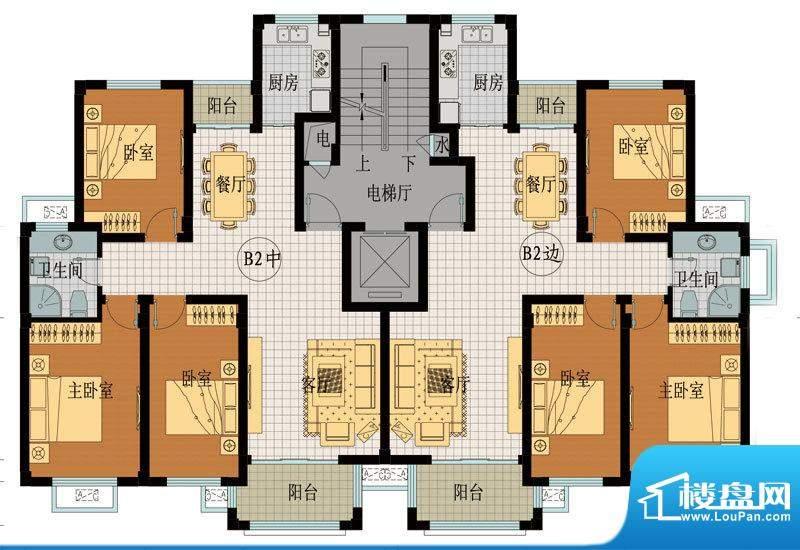 翡翠城B2户型 3室2厅面积:118.33平米