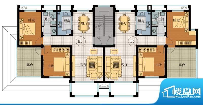 翡翠城B5B6户型 2室面积:82.32平米