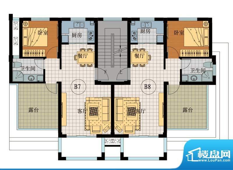 翡翠城B7B8户型 1室面积:56.55平米