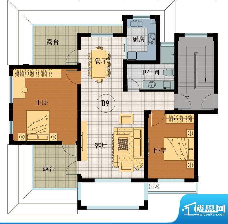 翡翠城B9户型 2室2厅面积:98.34平米